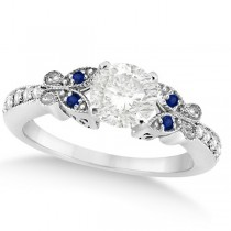 Round Diamond & Blue Sapphire Butterfly Engagement Ring 14k W Gold 0.50ct