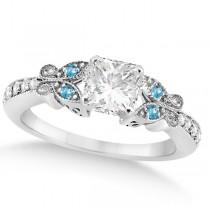 Princess Diamond & Blue Topaz Butterfly Engagement Ring 14k W Gold 0.50ct