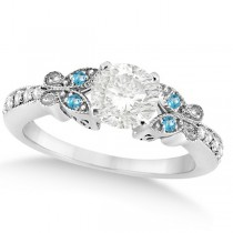 Round Diamond & Blue Topaz Butterfly Engagement Ring in 14k W Gold 0.75ct