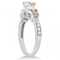 Heart Diamond & Citrine Butterfly Engagement Ring 14k W Gold 0.50ct