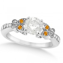 Round Diamond & Citrine Butterfly Engagement Ring in 14k W Gold 0.75ct