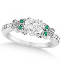Heart Diamond & Emerald Butterfly Engagement Ring 14k W Gold 0.75ct