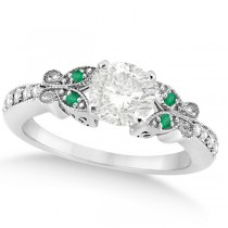Round Diamond & Emerald Butterfly Engagement Ring in 14k W Gold 0.75ct