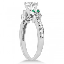 Round Diamond & Emerald Butterfly Engagement Ring in 14k W Gold (1.50ct)