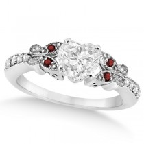 Heart Diamond & Garnet Butterfly Engagement Ring 14k W Gold 1.50ct