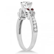 Heart Diamond & Garnet Butterfly Engagement Ring 14k W Gold 1.50ct
