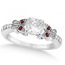Princess Diamond & Garnet Butterfly Engagement Ring 14k W Gold 0.50ct