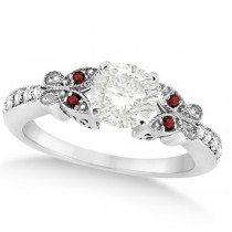 Round Diamond & Garnet Butterfly Engagement Ring in 14k W Gold (0.75ct)
