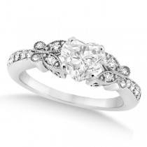 Heart Diamond Butterfly Design Engagement Ring 14k White Gold (1.50ct)