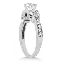 Princess Diamond Butterfly Design Engagement Ring 14k White Gold (2.00ct)