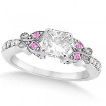 Princess Diamond & Pink Sapphire Butterfly Engagement Ring 14k W Gold 1.50ct