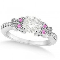 Round Diamond & Pink Sapphire Butterfly Engagement Ring 14k W Gold 0.50ct
