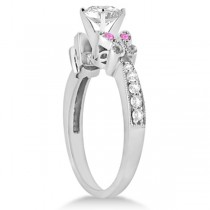 Round Diamond & Pink Sapphire Butterfly Engagement Ring 14k W Gold 1.50ct