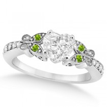 Heart Diamond & Peridot Butterfly Engagement Ring 14k W Gold 0.50ct