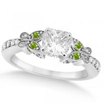 Princess Diamond & Peridot Butterfly Engagement Ring 14k W Gold 1.00ct