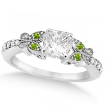 Princess Diamond & Peridot Butterfly Engagement Ring 14k W Gold 1.50ct