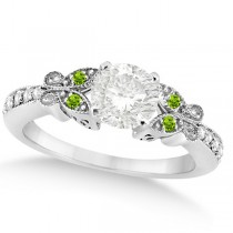 Round Diamond & Peridot Butterfly Engagement Ring in 14k W Gold 1.00ct