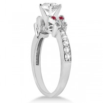 Heart Diamond & Ruby Butterfly Engagement Ring 14k White Gold (1.50ct)