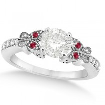 Round Diamond & Ruby Butterfly Engagement Ring in 14k W Gold (0.75ct)