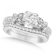 Heart Diamond Butterfly Design Bridal Ring Set 14k White Gold (0.76ct)