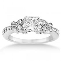 Princess Diamond Butterfly Bridal Ring Set 14k White Gold (0.76ct)