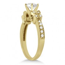 Round Diamond Butterfly Design Bridal Ring Set 14k Yellow Gold (0.96ct)