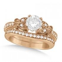 Round Diamond Butterfly Design Bridal Ring Set 14k Rose Gold (1.21ct)