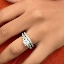 Round Diamond Butterfly Design Bridal Ring Set 14k Yellow Gold (1.21ct)