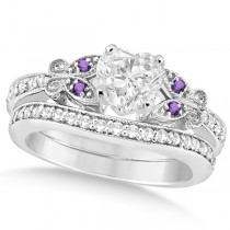 Heart Diamond & Amethyst Butterfly Bridal Set in 14k W Gold (0.96ct)