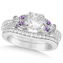 Princess Diamond & Amethyst Butterfly Bridal Set in 14k W Gold 0.96ct