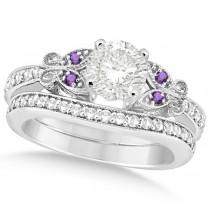 Round Diamond & Amethyst Butterfly Bridal Set in 14k W Gold (0.71ct)