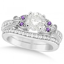 Round Diamond & Amethyst Butterfly Bridal Set in 14k W Gold (0.96ct)
