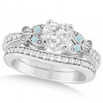 Heart Diamond & Aquamarine Butterfly Bridal Set in 14k W Gold (1.71ct)