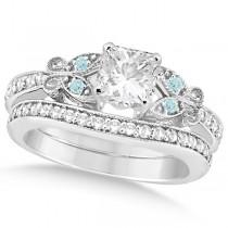 Princess Diamond & Aquamarine Butterfly Bridal Set 14k W Gold (0.71ct)