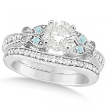 Round Diamond & Aquamarine Butterfly Bridal Set in 14k W Gold (0.71ct)