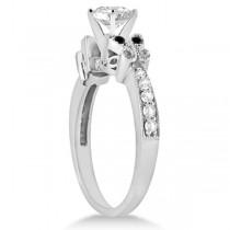 Round Black & White Diamond Butterfly Bridal Set in 14k W Gold (1.71ct)