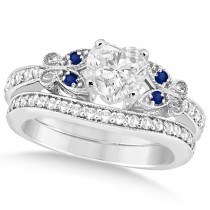 Heart Diamond & Blue Sapphire Butterfly Bridal Set in 14k W Gold (0.96ct)