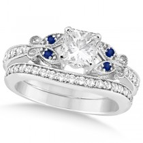 Princess Diamond & Blue Sapphire Butterfly Bridal Set in 14k W Gold (0.96ct)