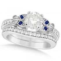 Round Diamond & Blue Sapphire Butterfly Bridal Set in 14k W Gold 0.96ct