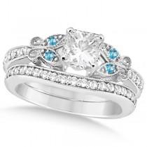 Princess Diamond & Blue Topaz Butterfly Bridal Set 14k W Gold (0.96ct)