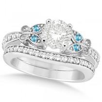 Round Diamond & Blue Topaz Butterfly Bridal Set in 14k W Gold (1.21ct)