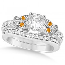 Princess Diamond & Citrine Butterfly Bridal Set in 14k W Gold (0.96ct)
