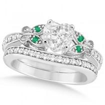Heart Diamond & Emerald Butterfly Bridal Set in 14k W Gold (1.71ct)