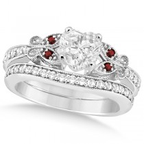 Heart Diamond & Garnet Butterfly Bridal Set in 14k W Gold (0.96ct)