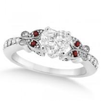 Heart Diamond & Garnet Butterfly Bridal Set in 14k W Gold (1.71ct)