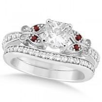 Princess Diamond & Garnet Butterfly Bridal Set 14k White Gold (1.71ct)
