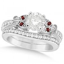 Round Diamond & Garnet Butterfly Bridal Set in 14k White Gold (1.21ct)