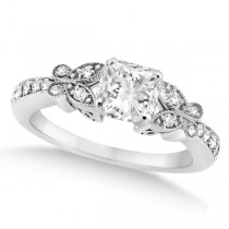 Princess Diamond Butterfly Design Bridal Ring Set 14k White Gold (2.21ct)