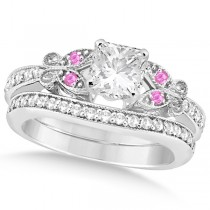 Princess Diamond & Pink Sapphire Butterfly Bridal Set in 14k W Gold (0.96ct)