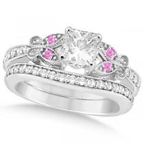 Princess Diamond & Pink Sapphire Butterfly Bridal Set in 14k W Gold (1.21ct)